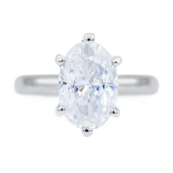 **NEW** Skinny Oval First Crush FAB Moissanite 6 Prongs FANCY Solitaire Ring