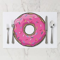 Pink Cartoon Donut with Sprinkles Placemat