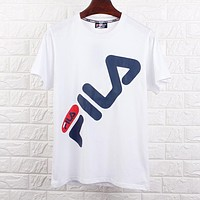 FILA Fashionable Couple Loose Print Couple T-Shirt Top White