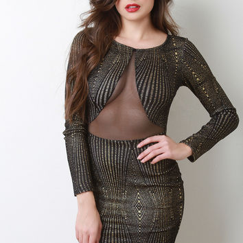 Mesh Panel Metallic Accent Long Sleeve Dress