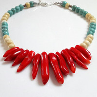 Red Coral Necklace with Bone Beads Turquoise Howlite and Sterling Silver