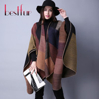 2016 New Women Poncho B Prorsum Cashmere Wool Scarf Embroidery personalized Poncho Cape Block Check Blanket Poncho