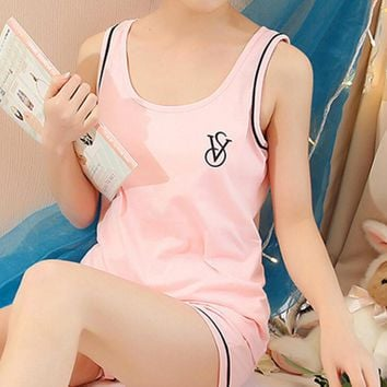 Victoria's secret Pink Two pieces of cotton sleeveless pajamas for lovely household pajamas nightwear