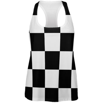 Finish Line Checkered Flag All Over Womens Racerback Tank Top