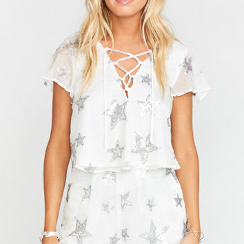 Oasis Lace Up Crop ~ Star Bright Star Light