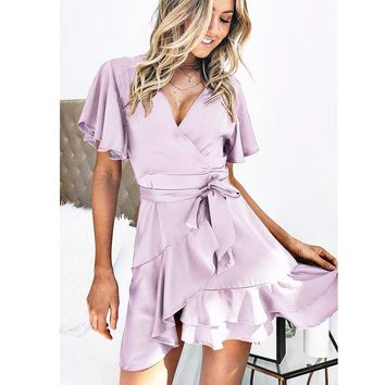 Best selling summer new women's cardigan with irregular dress(Only one piece) Light purple