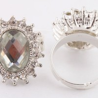 3 Pieces of Ladies Silver with Clear Iced Out Multi Faceted Oval Shape Stone Adjustable Ring