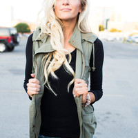 Olive Aztec Back Hooded Vest
