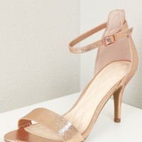 Foiled Low Strappy Heel Rose Gold