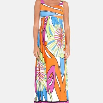Women's Olian Print Jersey Maternity Maxi Dress