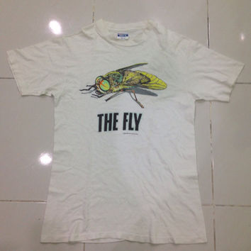 vintage 80s The Fly movie 1986 t shirt / David Cronenberg Classic Jeff Goldblum Science Fiction Horror Movie Promo MEDIUM size