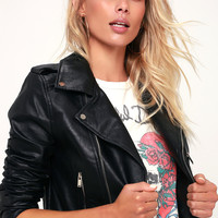 Full Throttle Black Vegan Leather Moto Jacket