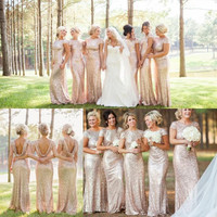 High-grade Cocktail Party Solid Dress Sequins Wedding Bridesmaid Backless Dress Gift-88