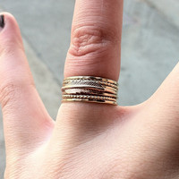 Tiny Little Feather 14k Gold Fill Stacking Ring - Brass on Yellow or Rose Gold - custom made to order