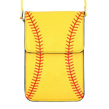 Softball Phone Crossbody Pouch with Strap