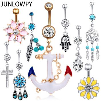 JUNLOWPY 1PCS Flower Woman Dangling Piercing Navel Belly Bar Body Jewelry belly piercing Drop Shipping Body Piercing