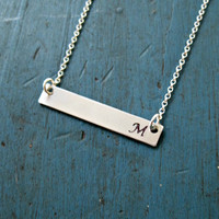 Silver Initial Necklace Bar Necklace Monogram Necklace Personalized Jewelry Gifts Initial necklace Engraved necklace Name plate necklace