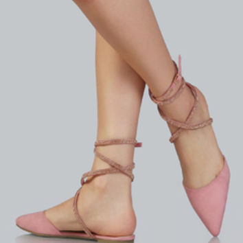 Pointed Toe Bejeweled Flats DUSTY PINK | MakeMeChic.COM