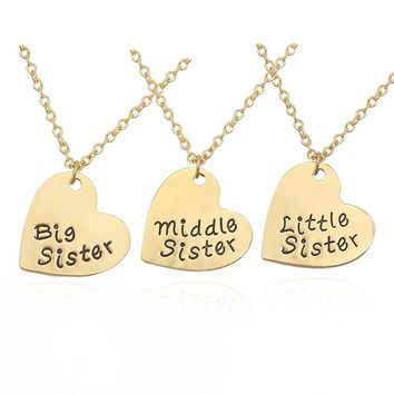 3 PCS/Set Best Sister Girlfriends Love Heart Necklace Jewelry 2 Colors Big & Middle & Little Sister Pendant Necklace For Women