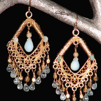 Sparc Jewelry-  Moroccan Earrings with Peruvian Opals & Aquamarine