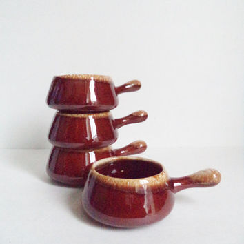 4 Vintage McCoy Brown Drip Glaze Soup Bowls/Crocks with Handles Housewares Serving