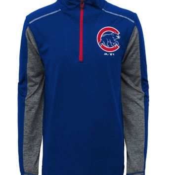 Youth Chicago Cubs Club Series 1/4 Zip Track Jacket By Majestic