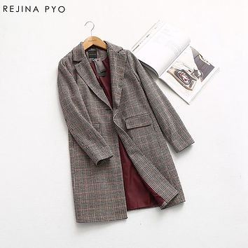 REJINAPYO Women Swallow Gird Plaid Vintage Style Elegant Single Button Notched Collar Trench Coat 2019 Spring New Arrvial