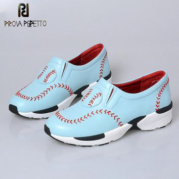 Prova Perfetto Leisure Style Baseball Sewing Thick Bottom Wedge Shoes Pointed Toe Conc