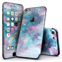 Teal to Pink 434 Absorbed Watercolor Texture - 4-Piece Skin Kit for the iPhone 7 or 7 Plus