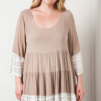 Lace Trim Dress - Mocha
