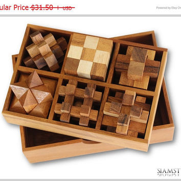 Puzzle Sale - Christmas Gift, Wooden Games in Puzzle Box , 6 Puzzle Box Games Set , Games & Puzzles
