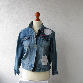 Classic denim jacket. Vintage 1990s upcycled  boho lace shabby blazer jacket Chic Vintage, Spring, classic styling with metal buttons