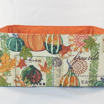 Fall Thanksgiving Themed Fabric Basket For Storage, Gift Giving or Bread Basket