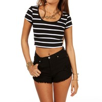 Sale-striped Crop Top