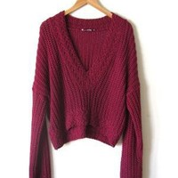 Maroon Knit Grunge Sweater by asecretshop on Etsy