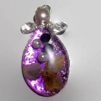 Pear Shaped Resin Angel Christmas Ornament with Real Flower and Pearls Free Shipping