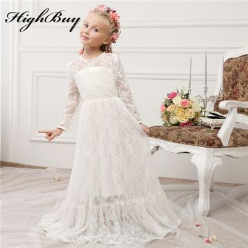 HighBuy 2017 Vintage Princess Lace Flower Girl Dresses Sheer Jewel Long Sleeves Cute Floor Length Girls First Communion Dresses