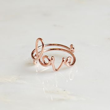 Wire Love Ring Rose Gold