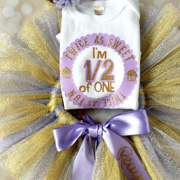Half Birthday Tutu Outfit Set - Personalized Bodysuit - Princess Party - Baby Girl - Purple and Gold - Glitter Set - Birthday Crown