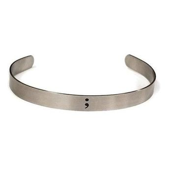 Stainless Steel Semicolon Secret Message Braclet