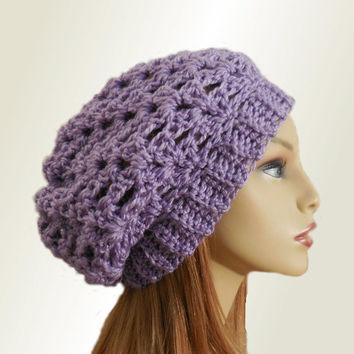 PURPLE SLOUCHY Hat Crochet Knit Wool Lavendar Light Purple Slouchy Beanie Slouch Beany Women Accessories Teen Hat Great Gift