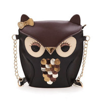 Vintage Contrast Color Owl Satchel - Purse