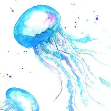 Aquamarine Jellyfish - Print from original watercolor illustration by Lexi Rajkowski