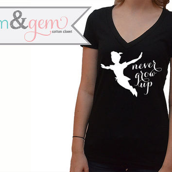 "Disney's Peter Pan ""Never Grow Up"" // Peter Pan & Tinkerbell Shirt // Adult Disney Shirt // Tink Shirt, Tank, V-Neck, Sweatshirt"