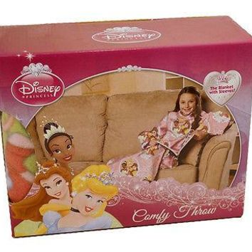 Disney Princess (Cinderella Belle Jasmine) Ribbons & Royalty Blanket Comfy Throw