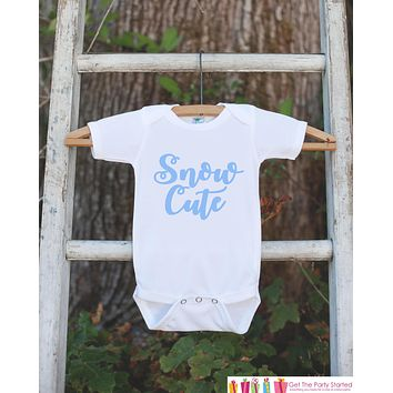 Kids Winter Shirt - Blue Snow Cute Onepiece or T-shirt - Boy or Girls Snow Cutie Outfit - Baby, Toddler, Youth - Sibling Shirts