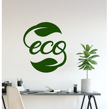 Vinyl Wall Decal Ecology Eco Word Logo Nature Leaves Stickers (3982ig)