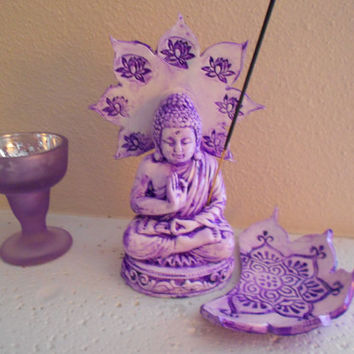 Purple Sitting Lotus Buddha Incense Holder, Incense Burner, Yoga Decor,