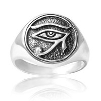 925 Sterling Silver Egypt Eye of Horus Ring - Nickel Free Size 7