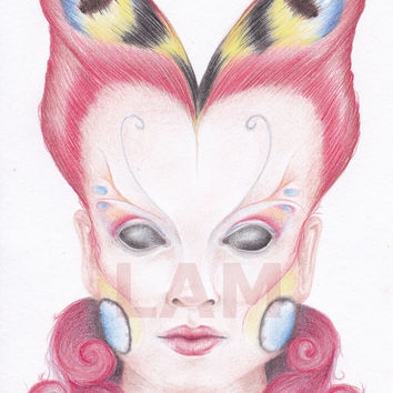 SALE - Peacock Butterfly Girl - Coloured pencil drawing - digital download